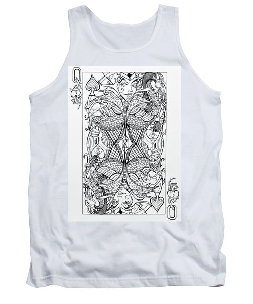 Tank Top featuring the drawing Queen Of Spades  by Jani Freimann