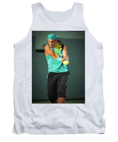 Tank Top featuring the painting Rafael Nadal by Lou Novick