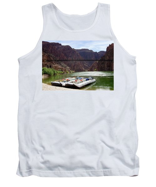 Rafts With Black Bridge In The Distance Tank Top