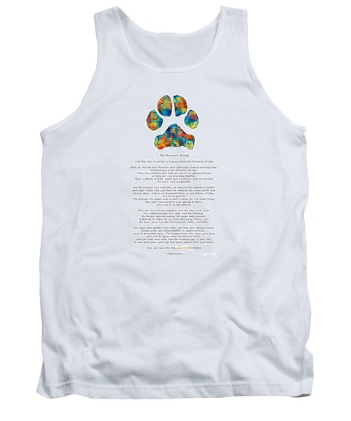 Rainbow Bridge Poem With Colorful Paw Print By Sharon Cummings Tank Top