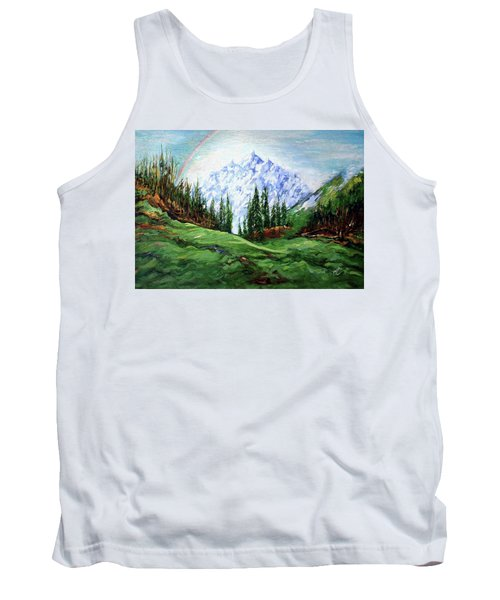 Rainbow Over The Snow Covered Mountain Tank Top