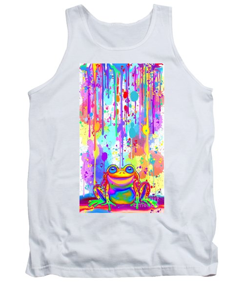 Tank Top featuring the painting Rainbow Painted Frog  by Nick Gustafson