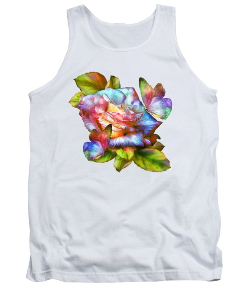 Rainbow Rose And Butterflies Tank Top by Carol Cavalaris