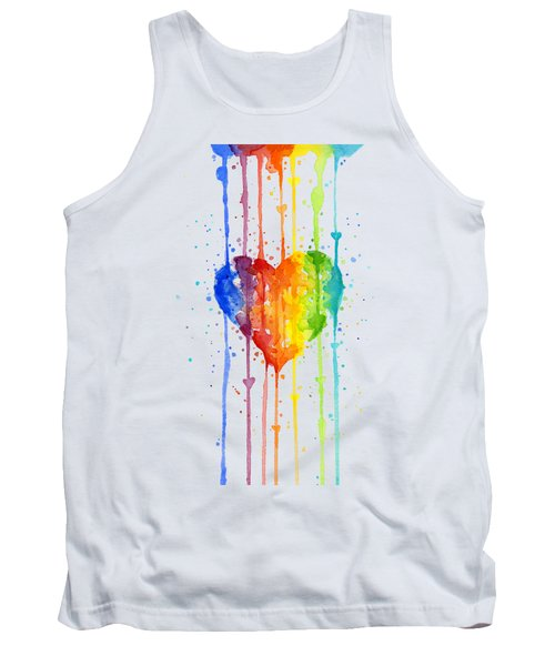 Rainbow Watercolor Heart Tank Top