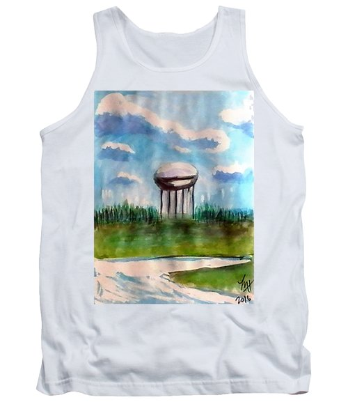 Tank Top featuring the painting Raines Road Watertower by Loretta Nash