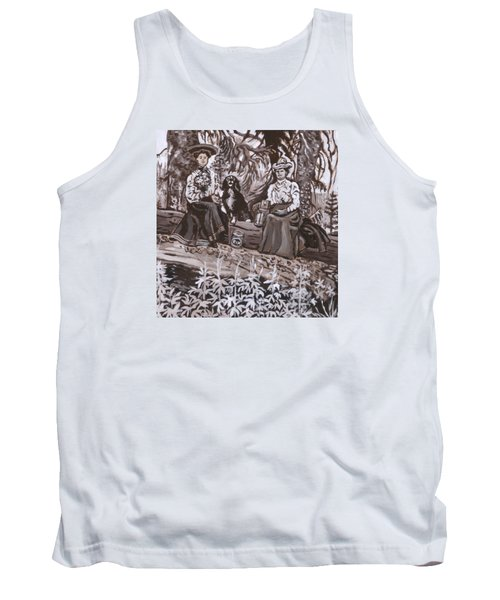 Tank Top featuring the painting Ranch Women Picking Berries Historical Vignette by Dawn Senior-Trask