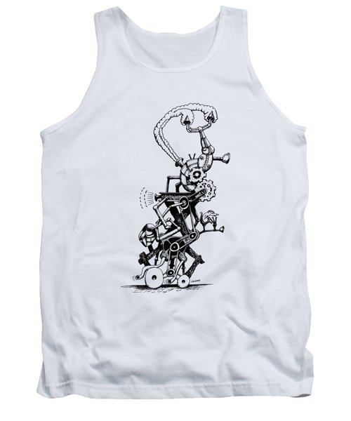 Tank Top featuring the drawing Rat Reverse-cycle Steam Engine by Kim Gauge