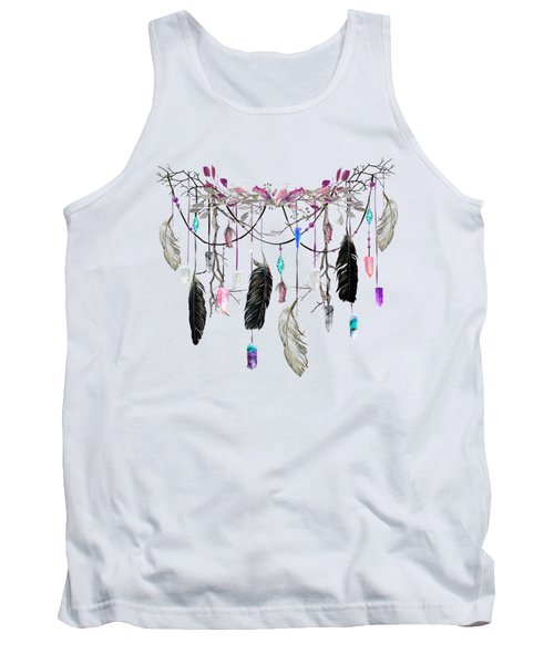 Raven Feathers And Roses Crystal Spirit Gazer Tank Top