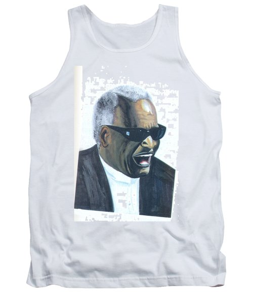 Tank Top featuring the painting Ray Charles by Emmanuel Baliyanga