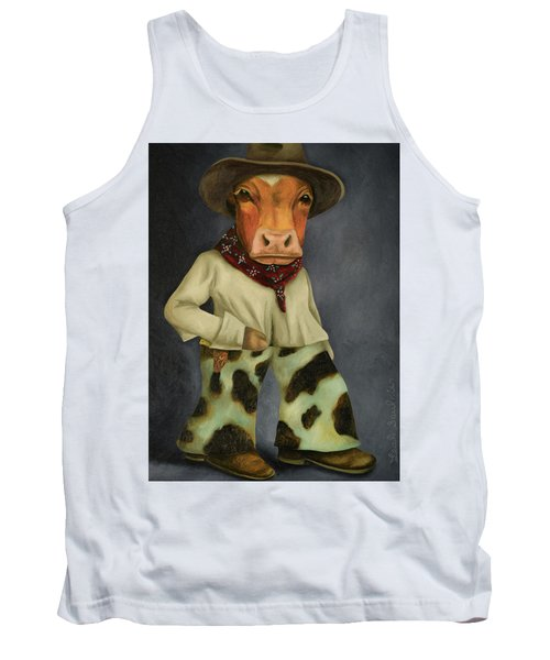 Tank Top featuring the painting Real Cowboy 2 by Leah Saulnier The Painting Maniac