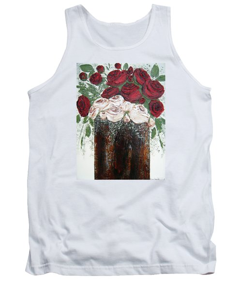 Red And Antique White Roses - Original Artwork Tank Top