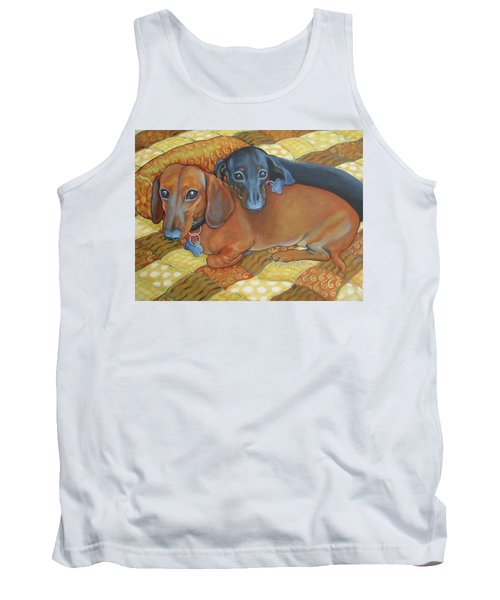 Red And Black Dachshunds - Best Buds Tank Top by Rebecca Korpita