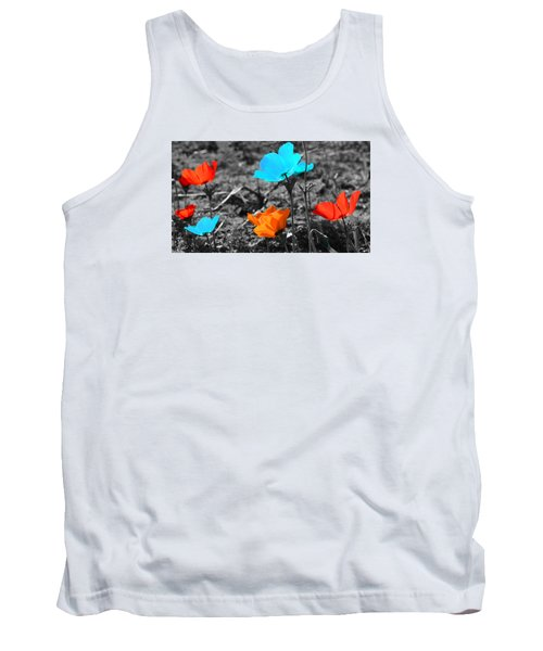 Red And Blue Flowers On Gray Background Tank Top