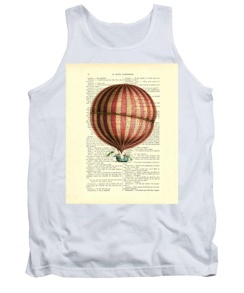 Red And White Striped Hot Air Balloon Antique Photo Tank Top
