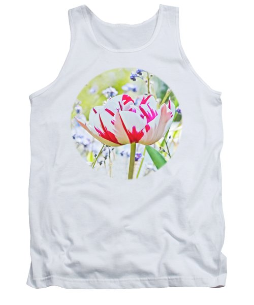 Red And White Tulip Tank Top by Terri Waters