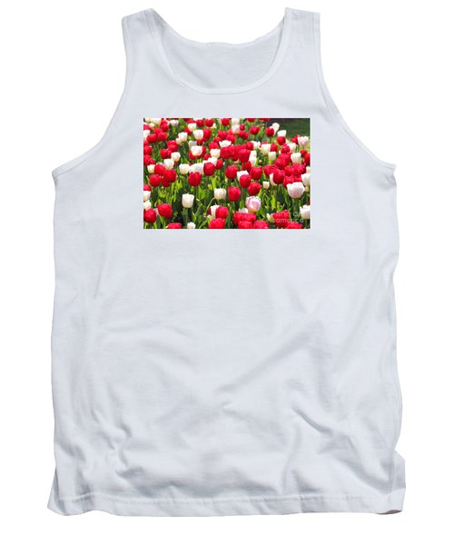 Red And White Tulips Tank Top by Bev Conover