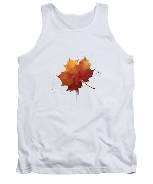 Red Autumn Leaf Tank Top by Thubakabra