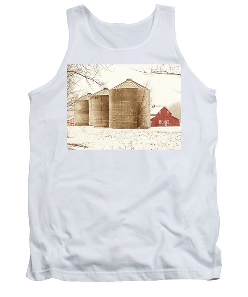 Red Barn In Snow Tank Top