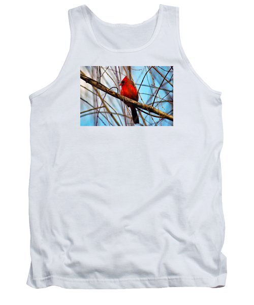 Red Bird Sitting Patiently Tank Top