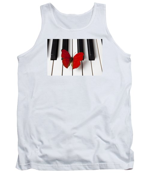 Red Butterfly On Piano Keys Tank Top