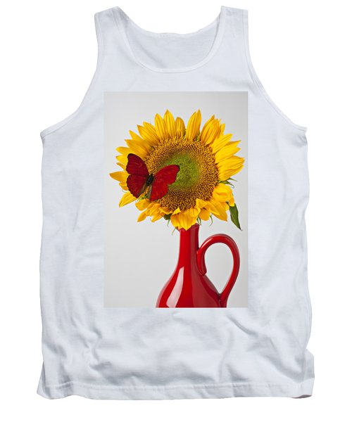 Red Butterfly On Sunflower On Red Pitcher Tank Top