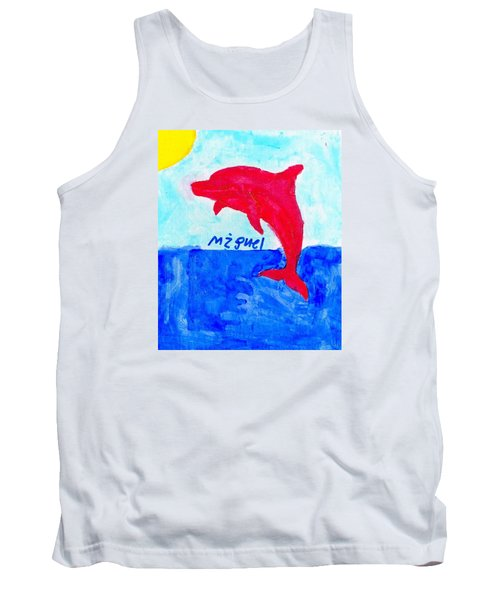 Tank Top featuring the painting Red Dolphin by Artists With Autism Inc
