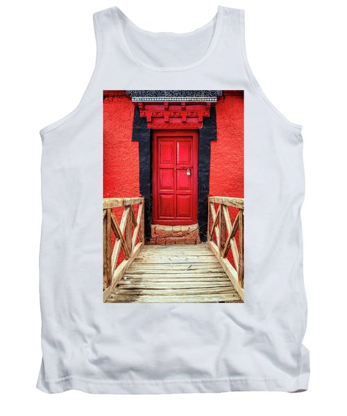 Tank Top featuring the photograph Red Door At A Monastery by Alexey Stiop
