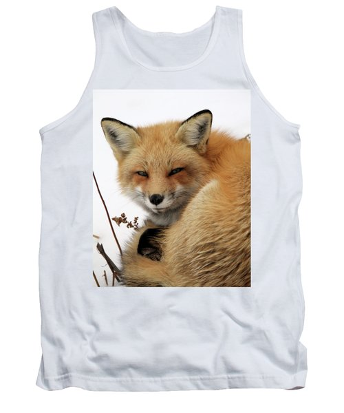 Tank Top featuring the photograph Red Fox In Snow by Doris Potter