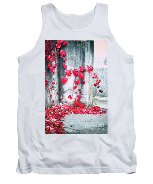 Tank Top featuring the photograph Red Ivy Leaves by Silvia Ganora