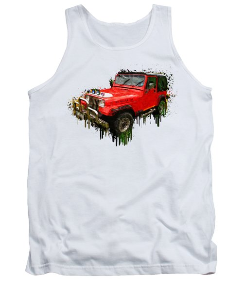 Red Jeep Off Road Acrylic Painting Tank Top