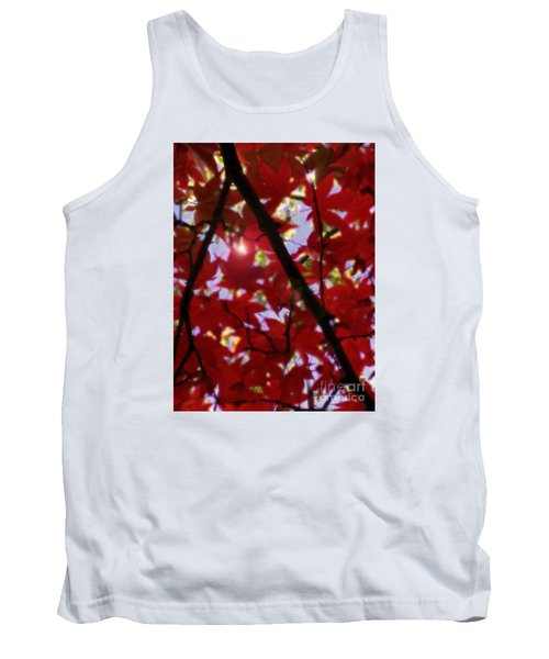 Tank Top featuring the digital art Red Leaves In Light by Haleh Mahbod