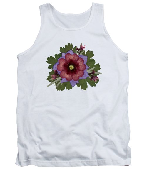 Red Open Faced Potentilla Pressed Flower Arrangement Tank Top