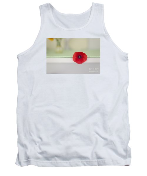 Red Poppy On Windowsill Tank Top