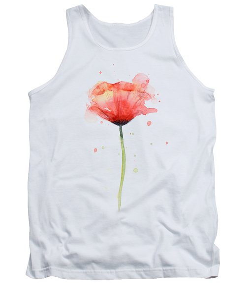Red Poppy Watercolor Tank Top