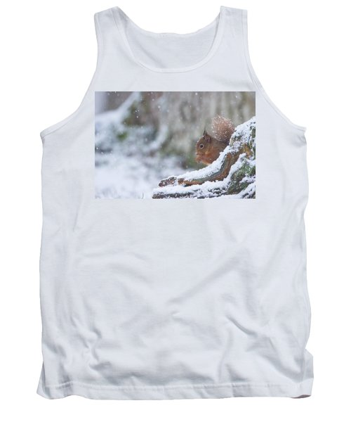 Red Squirrel On Snowy Stump Tank Top