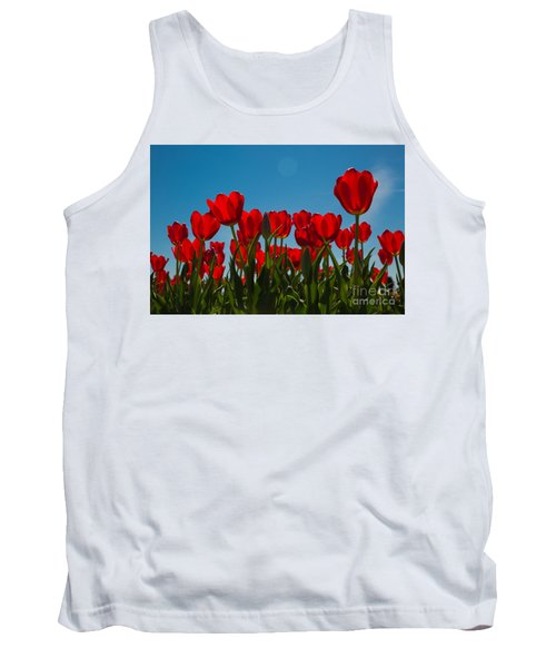 Red Tulips Tank Top by John Roberts