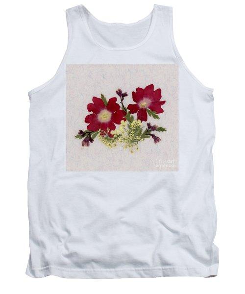 Red Verbena Pressed Flower Arrangement Tank Top