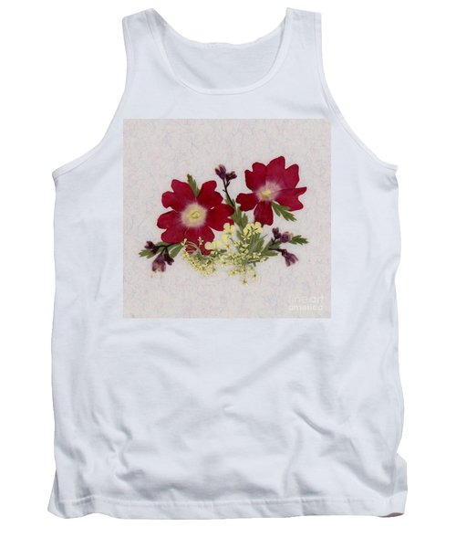 Red Verbena Pressed Flower Arrangement Tank Top