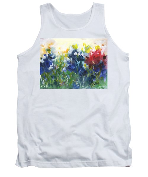 Red White And Bluebonnets Watercolor Painting By Kmcelwaine Tank Top by Kathleen McElwaine