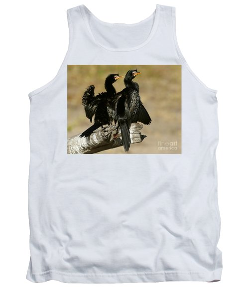 Reed Cormorants Tank Top by Myrna Bradshaw