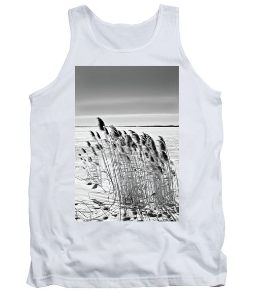 Reeds On A Frozen Lake Tank Top