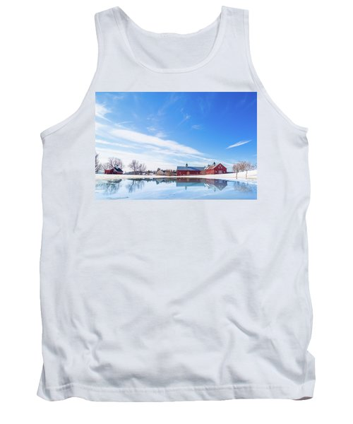 Reflection Of A Barn In Winter Tank Top