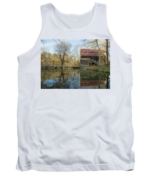 Reflection On A Grist Mill Tank Top by George Randy Bass