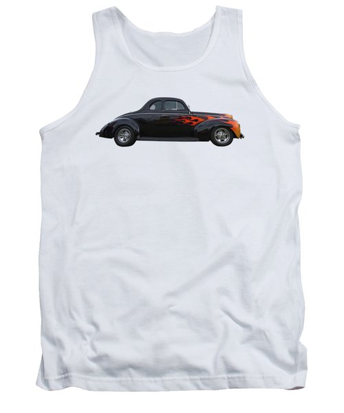 Tank Top featuring the photograph Reflections Of A 1940 Ford Deluxe Hot Rod With Flames by Gill Billington