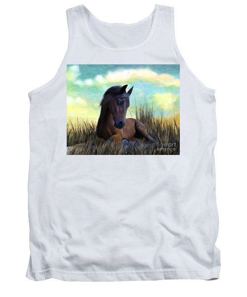 Tank Top featuring the painting Resting Foal by Sandra Bauser Digital Art