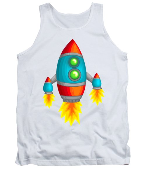 Retro Rocket Tank Top by Brian Kemper