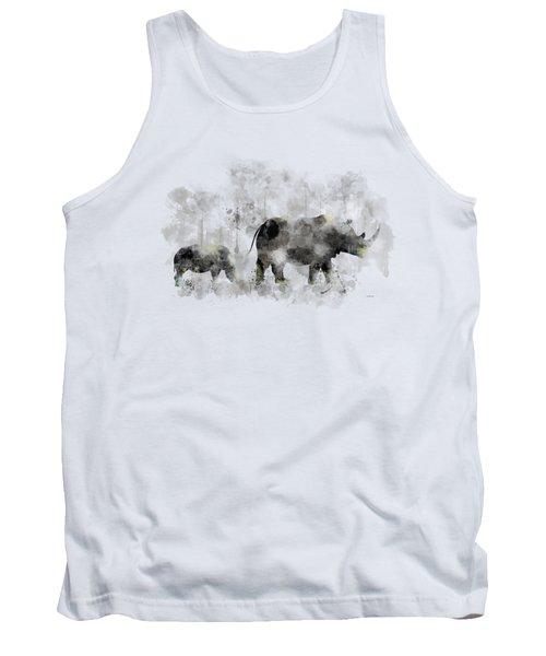 Rhinoceros And Baby Tank Top by Marlene Watson