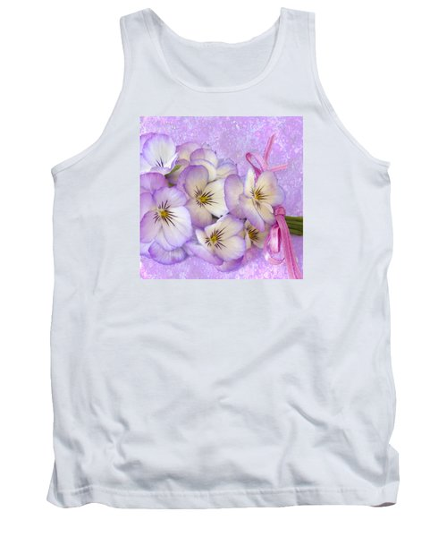 Ribboned Pansies  Tank Top by Sandra Foster