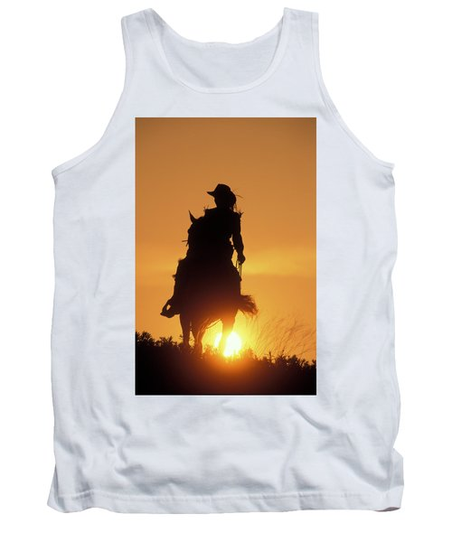Riding Cowgirl Sunset Tank Top