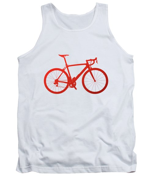 Road Bike Silhouette - Red On White Canvas Tank Top by Serge Averbukh
